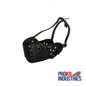 Easy Adjustable 100% Leather Agitation Muzzle