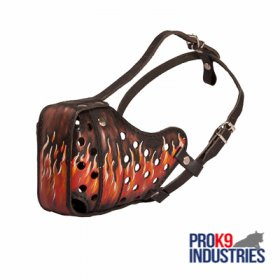 Burning Fire Hand Painted Leather Dog Muzzle for Attack Training