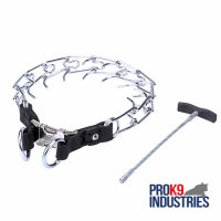 'Daily Revolution' Chrome Plated Dog Pinch Collar with Metal Long Handle - 1/8 inch (3.25 mm) Prong's Diameter