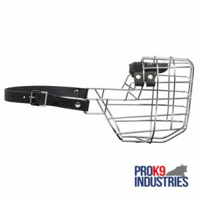 K9 Wire Cage safety Muzzle with a single strap for quick release
