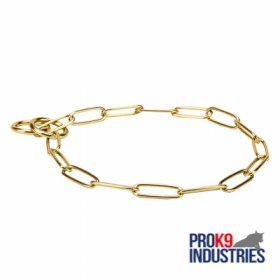 'Chain Protector' Brass Fur Saving Dog Choke Collar - 1/9 inch (3 mm) link diameter