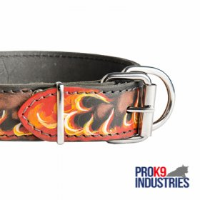 Handpainted Leather Dog Collar with Red Flames
