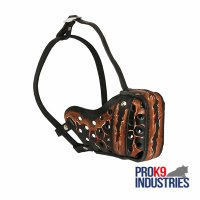 """Lava"" Hand painted leather dog agitation and fight muzzle"