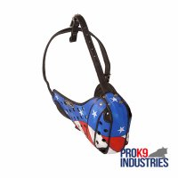 Stars and Stripes Hand painted 100% European Leather Agitation Dog Muzzle