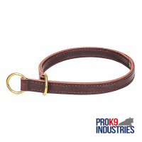 'Obedient canines' 2 ply Leather Training Choke Collar - 1 inch (25 mm) wide