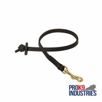 Short Leather Dog Leash with Round Handle