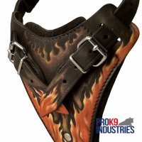 Handpainted in Flames Leather Dog Harness for Agitation Training