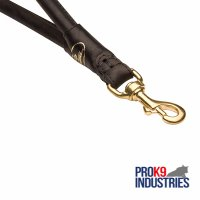 Fast Grab Round Leather Dog Lead