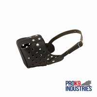 Police Dog Leather Muzzle with Air Circulation Holes