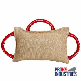 Dog bite pad made of jute with 3 handles