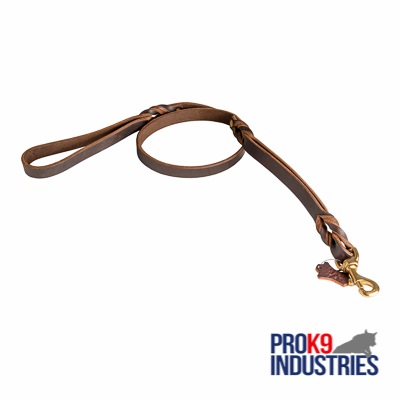 Dog Leather Leash With Additional Handle