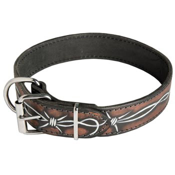 Dog Collar Leather Handmade Painted in Barbed Wire for Walking Dog