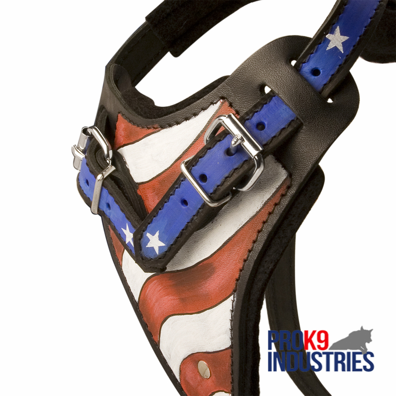 American Flag Painted Leather Dog Harness for Agitation Training