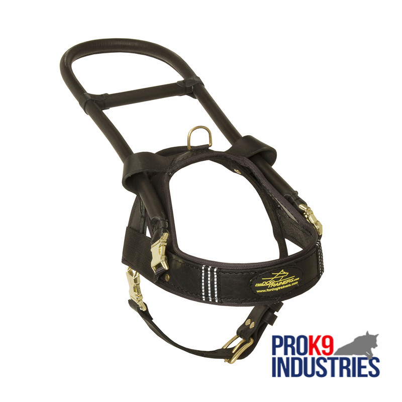 Guide and Assistance Leather Dog Harness
