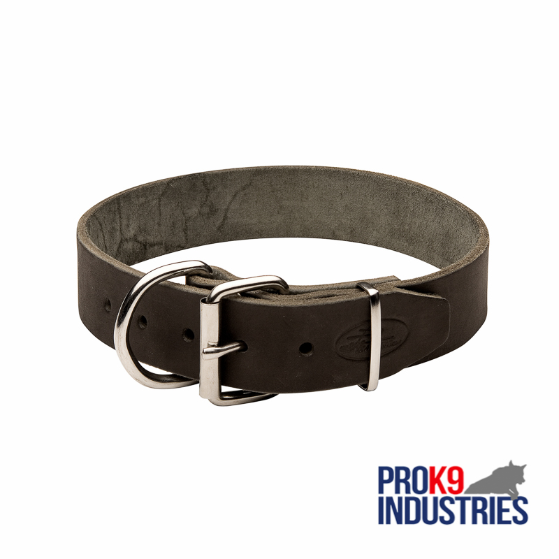 Wide Leather Dog Collar for Training and Walking