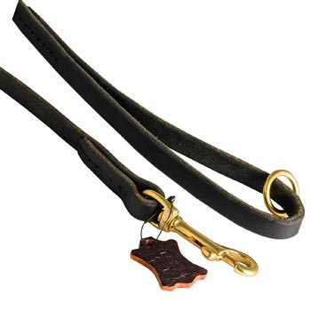 Handmade Leather Dog Leash with Floating O-Ring on The  Handle for Dog