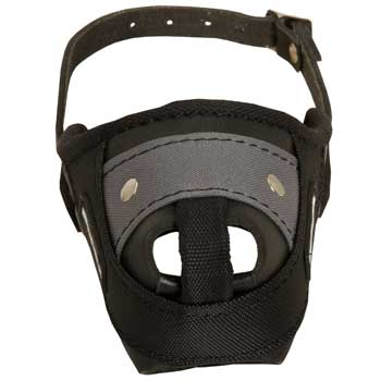 Nylon and Leather Dog Muzzle with Steel Bar for Protection Training